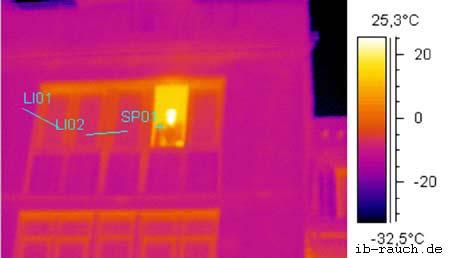 Bild Infrarotaufnahme einer gedämmten Hausfassade