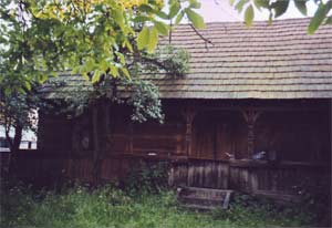 100-year-old wooden house in Carpathians
