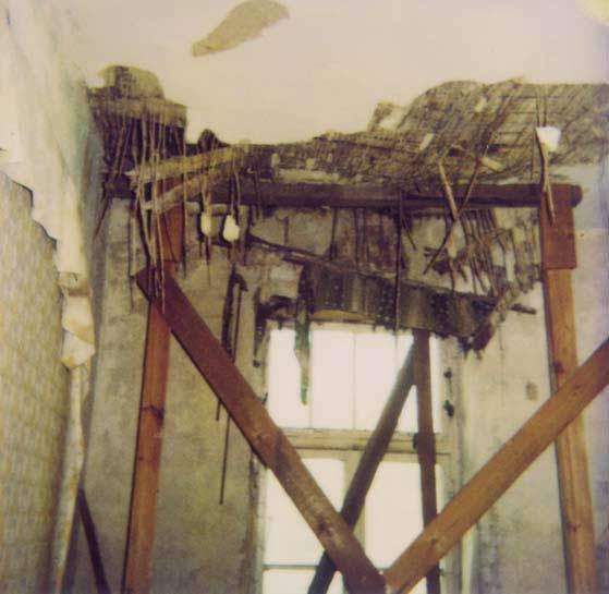 Hausschwammbefall in Decke zum Dachboden