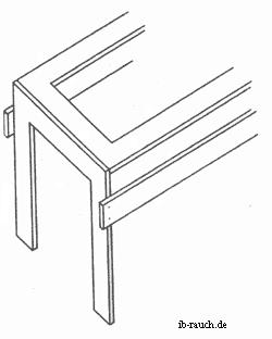 Stabilisierung eines alten Tisches durch seitliche Leisten